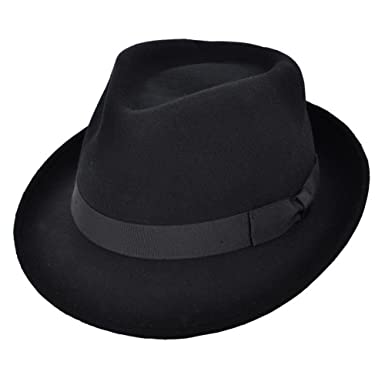4ecaefbf Trilby Hat - 100% Wool Felt Camden Crushable Trilby For Men - Black ...