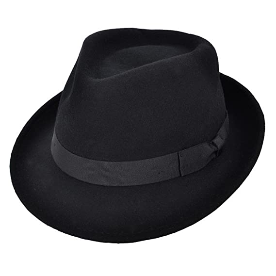 Cotswold Country Hats Trilby Hat - 100% Wool Felt Camden Trilby for Men -  Black bd58d1c51a7