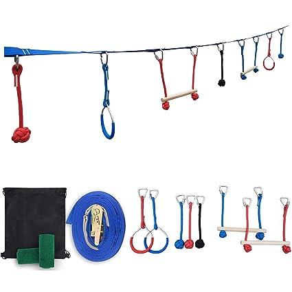 Patioline 40 Feet Slack Line Ninja Obstacle Course for Kids Jungle Gym Training Equipment Junior Teens - 2 Monkey Bars, 2 Gymnastics Rings, 3 Knot ...