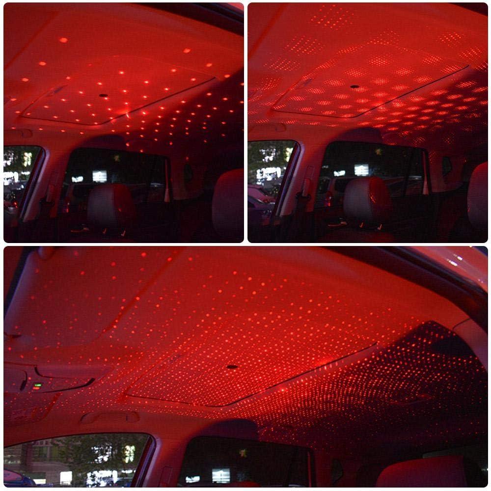 Lesgos Plug-and-Play-Decke Romantic Night USB Light Universal-USB-Mini-Decken-Starlight-Projektion f/ür Auto//Home//Party blue purple Romantic Auto Roof Stars