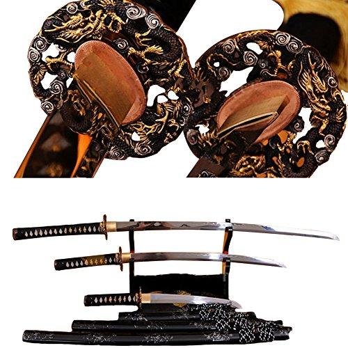 Lyuesword Japanese Samurai Katana Set of 3 Katana Wakizashi Tanto Sword Set 3 Piece Full Tang T-10 High Carbon Clay Tempered
