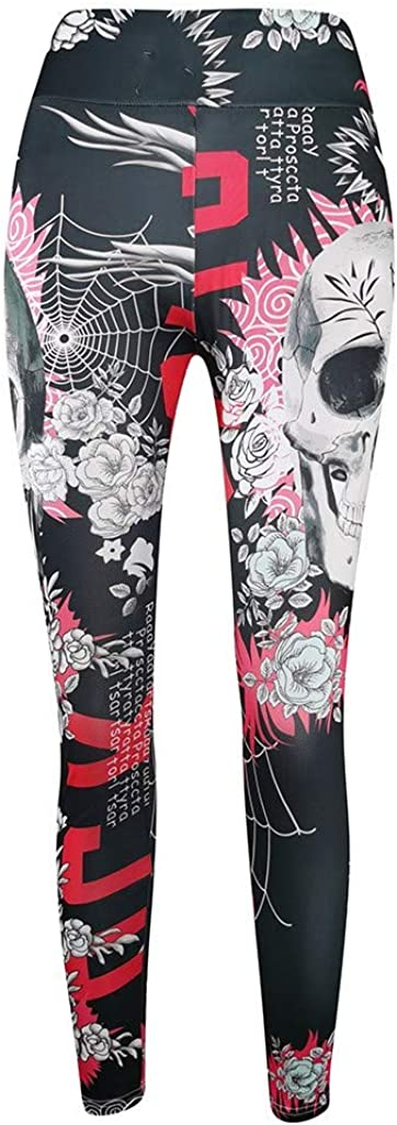 Womens Sugar Skull Printed Leggings Christmas Brushed Buttery Soft Ankle Length Tights High Waist Yoga Pants