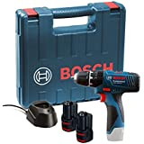 Bosch LI Professional, 12V, 06019F3070, Blue, 2 x 1.5 Ah Batteries with Charger and Carry Case