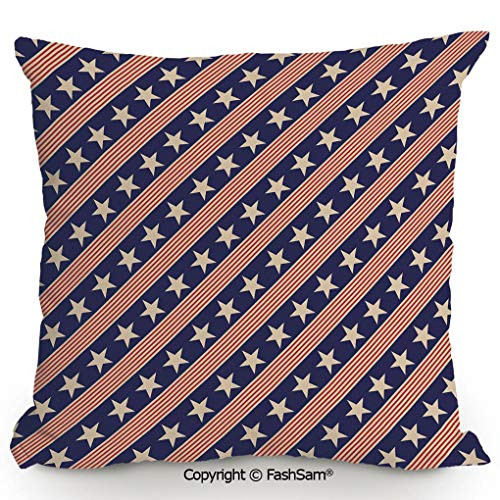 FashSam Home Super Soft Throw Pillow Patriotic Star Pattern in Diagonal Stripes National Theme for Sofa Couch or Bed(24