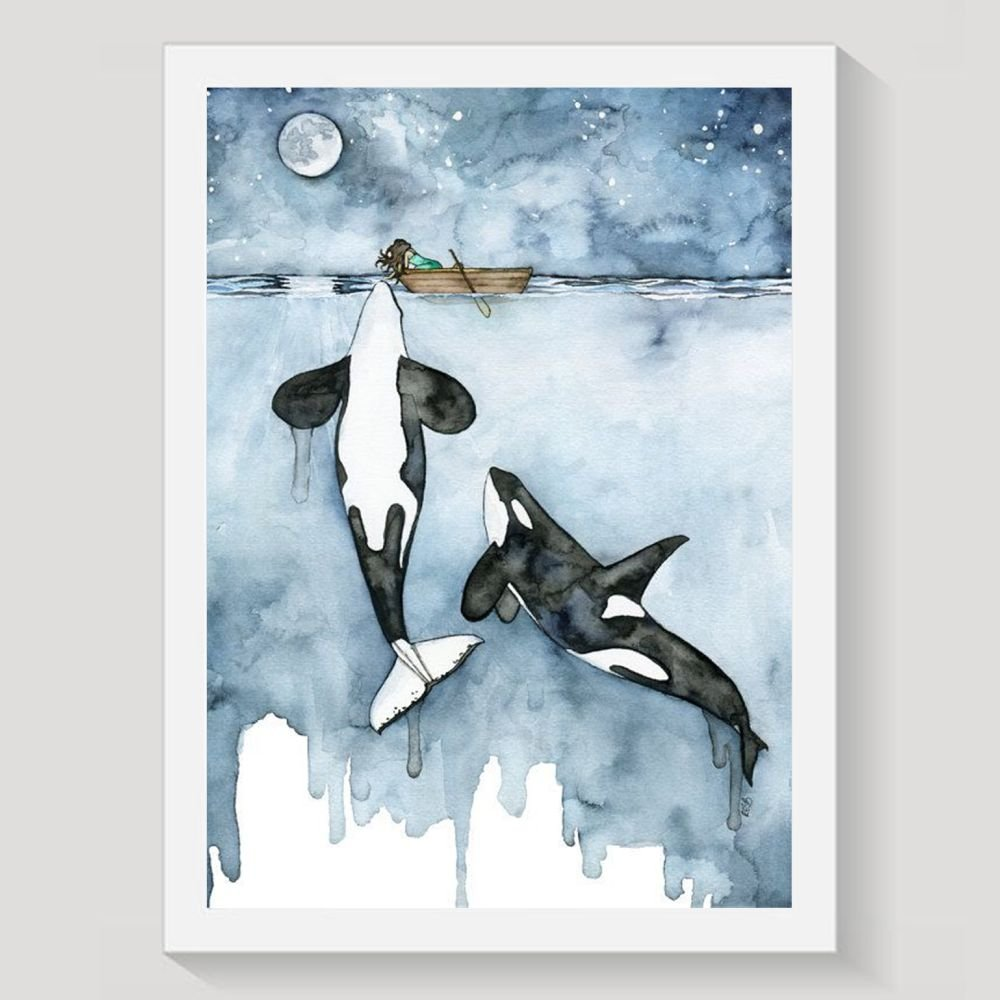 Decorative Frameless Paintings Watercolor Animal Nursery Whale 16 by 20-Inch Canvas Wall Art Frameless Painting, Decoration, Bedroom, and Home Decoration