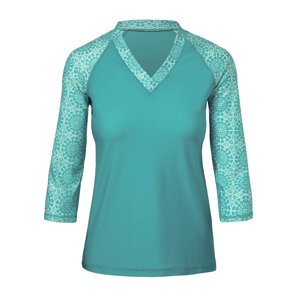 V-Neck Sun and Swim Shirt with Free Keychain UV Skinz Women/'s UPF 50