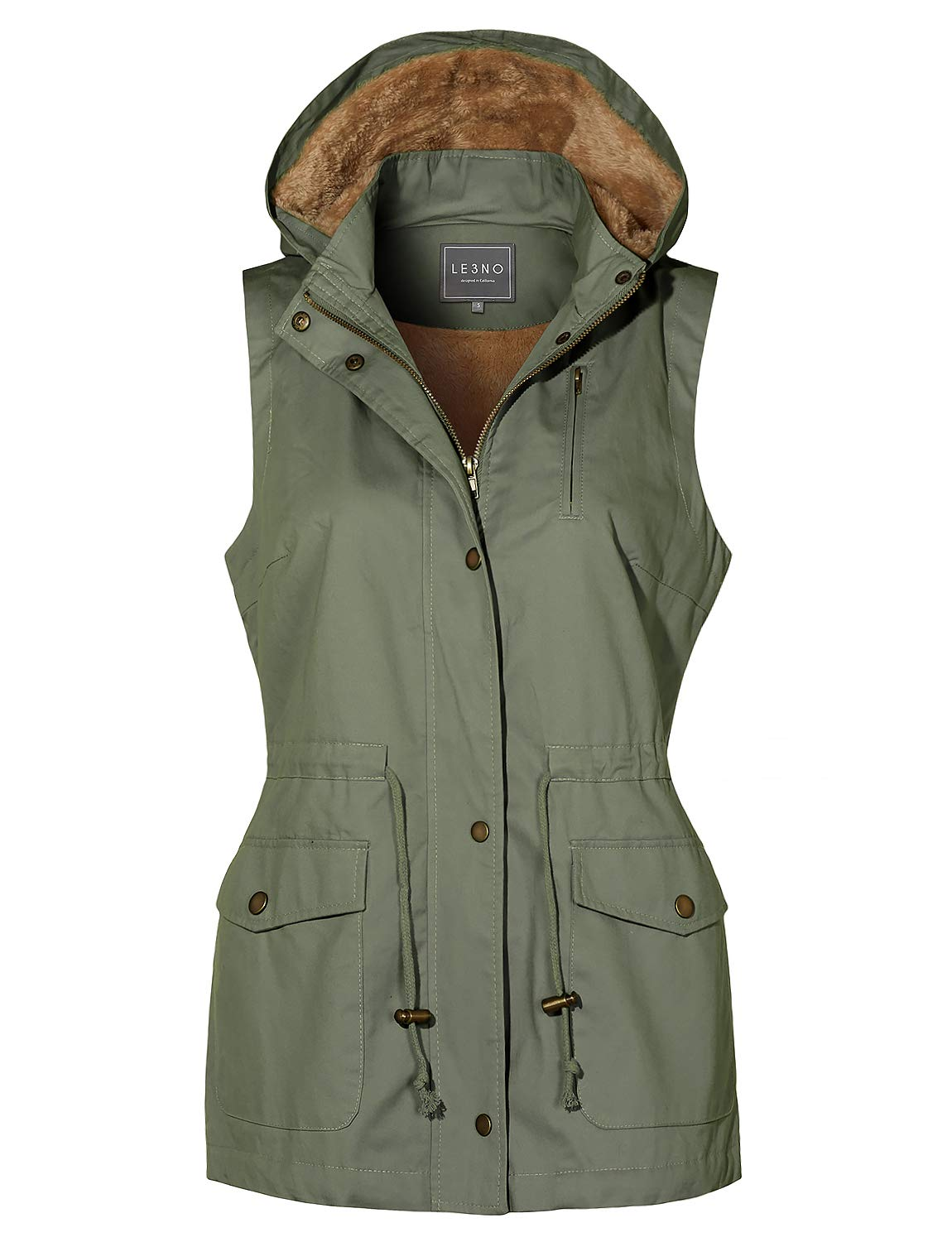LE3NO Womens Faux Fur Drawstring Waist Military Anorak Vest with Removable Hoodie, Olive, Small by LE3NO