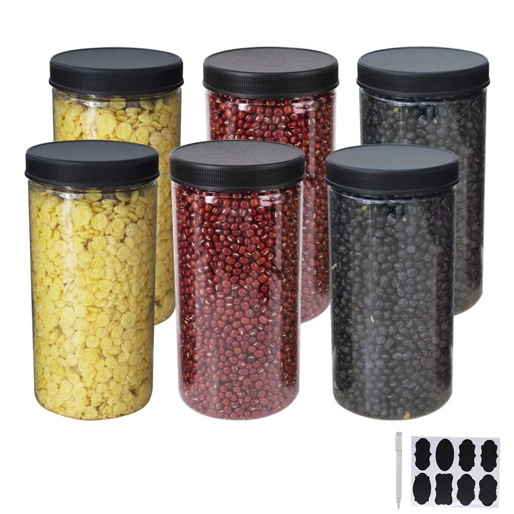 una penna casa e cucina YBCPACK Confezione da 6 barattoli grandi in plastica trasparente con coperchi ed etichette PET contenitori per alimenti in per esposizione dispensa