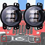 TURBO SII Pair 4 Inch 30w Cree Led Fog Lights Len Projector for Jeep Tractor Boat Led Fog Lamps Bulb Auto Led Headlight Driving Offroad Lamp for Jeep Wrangler Dodge Chrysler Front Bumper Lights