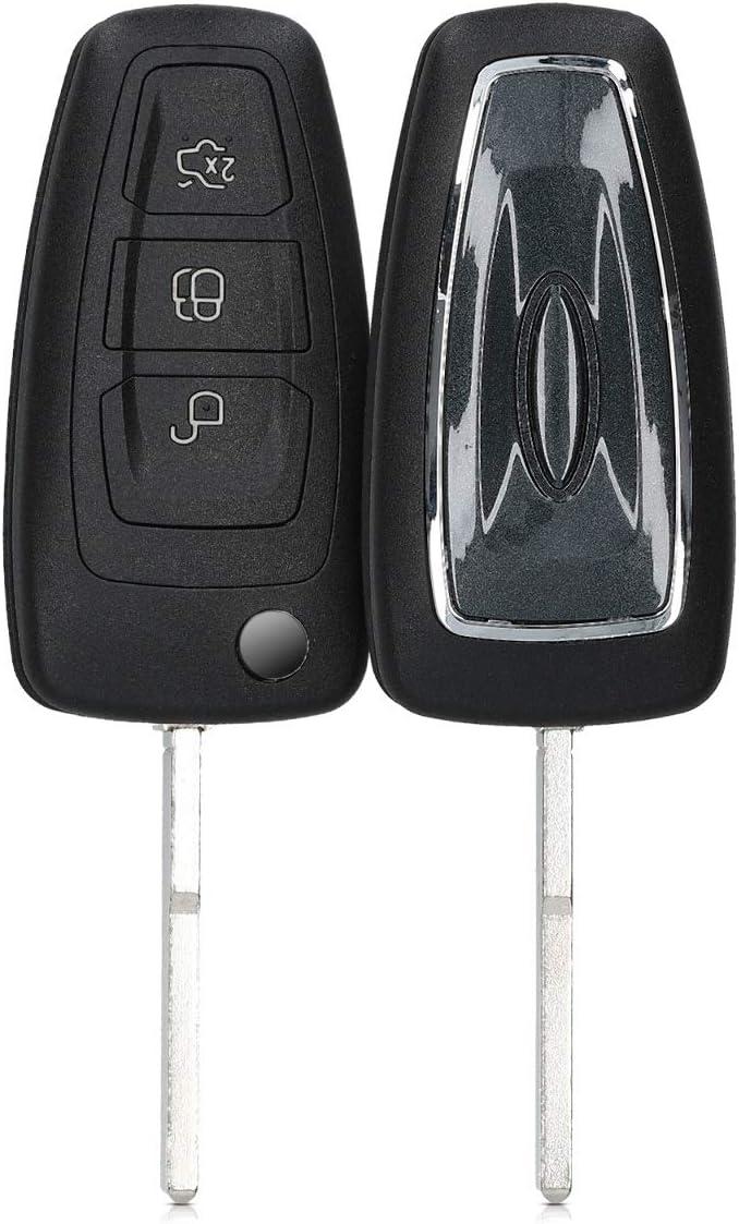 Clave de silicona funda Ford New Mondeo//escort 3-teclas negro plegable clave