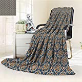 Digital Printing Blanket s Florets Delicate Features Arabian Style Yard Blooms Corsage Dark Blue Orange Summer Quilt Comforter