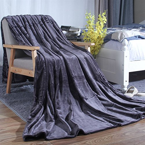 Znzbzt Flannel blankets quilts dorm students extra thick blankets winter coral fleece bed pure color blanket,200cmx230cm, dark gray 320g thick