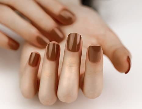 ArtPlus 24pcs Milk Coffee False Nails Full Cover Short and Small with Adhesive Tabs Pressed On