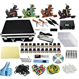 Wormhole Complete Tattoo Kit with Case Tattoo Power Supply Kit 20 Tattoo Inks 50 Tattoo Needles 4 Pro Tattoo Machine Kit Tattoo Supplies Tattoo Kit for Beginners CD013