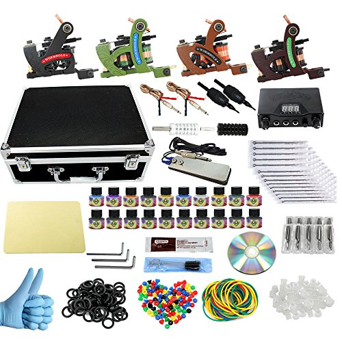 Price comparison product image Wormhole Complete Tattoo Kit with Case Tattoo Power Supply Kit 20 Tattoo Inks 50 Tattoo Needles 4 Pro Tattoo Machine Kit Tattoo Supplies Tattoo Kit for Beginners CD013