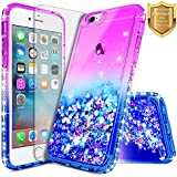 iPhone 6S Case, iPhone 6 Case w/[Tempered Glass Screen Protector], NageBee Glitter Liquid Quicksand Waterfall Floating Flowing Sparkle Shiny Bling Diamond Girls Cute Case -Purple/Blue