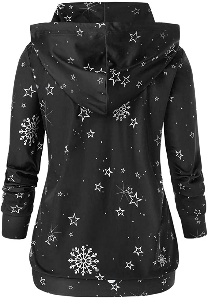 Women Blouse Sale Shirts Womens Winter Casual Long Sleeve Hooded Character Pullover Sweatshirt Tops Halloween Christmas Best Gift for Your Lover UK Size S-5XL