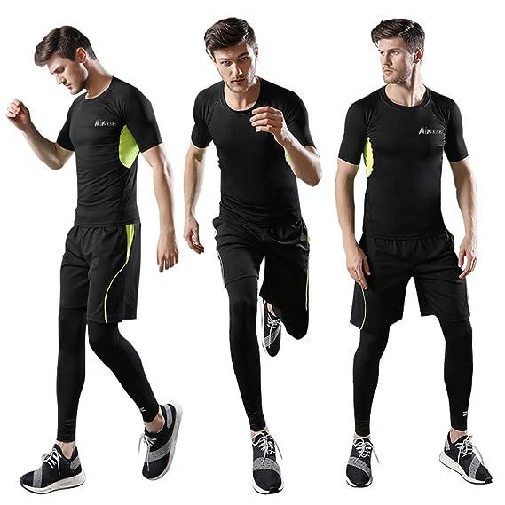 Homme 3 Pièces Vêtements de Sport avec Shirt Compression+