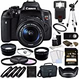 Canon EOS Rebel T6i Digital SLR Camera Kit with 18-55mm Lens + Sony 32GB UHS-I SDHC Memory Card (Class 10) + 58mm 3 Piece Filter Set (UV, CPL, FL) + Canon EOS Shoulder Bag 100ES (Black) Bundle