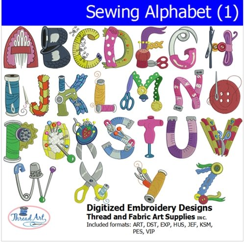 (Threadart Machine Embroidery Designs - Sewing Alphabet (1) - USB Stick)
