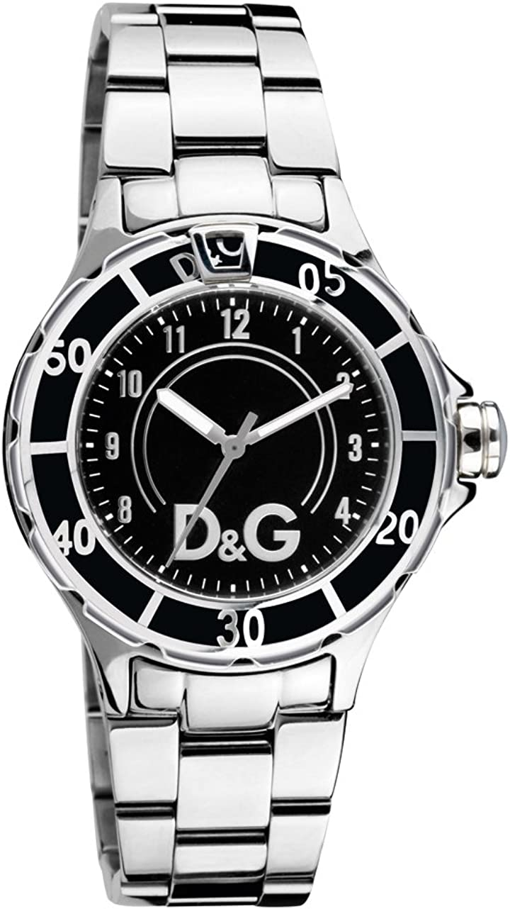 Dolce & Gabbana NCHOR Black DIAL SS BRC Case SS W/Black EN DW0511 - Reloj de Caballero de Cuarzo, Correa de Acero Inoxidable Color Plata