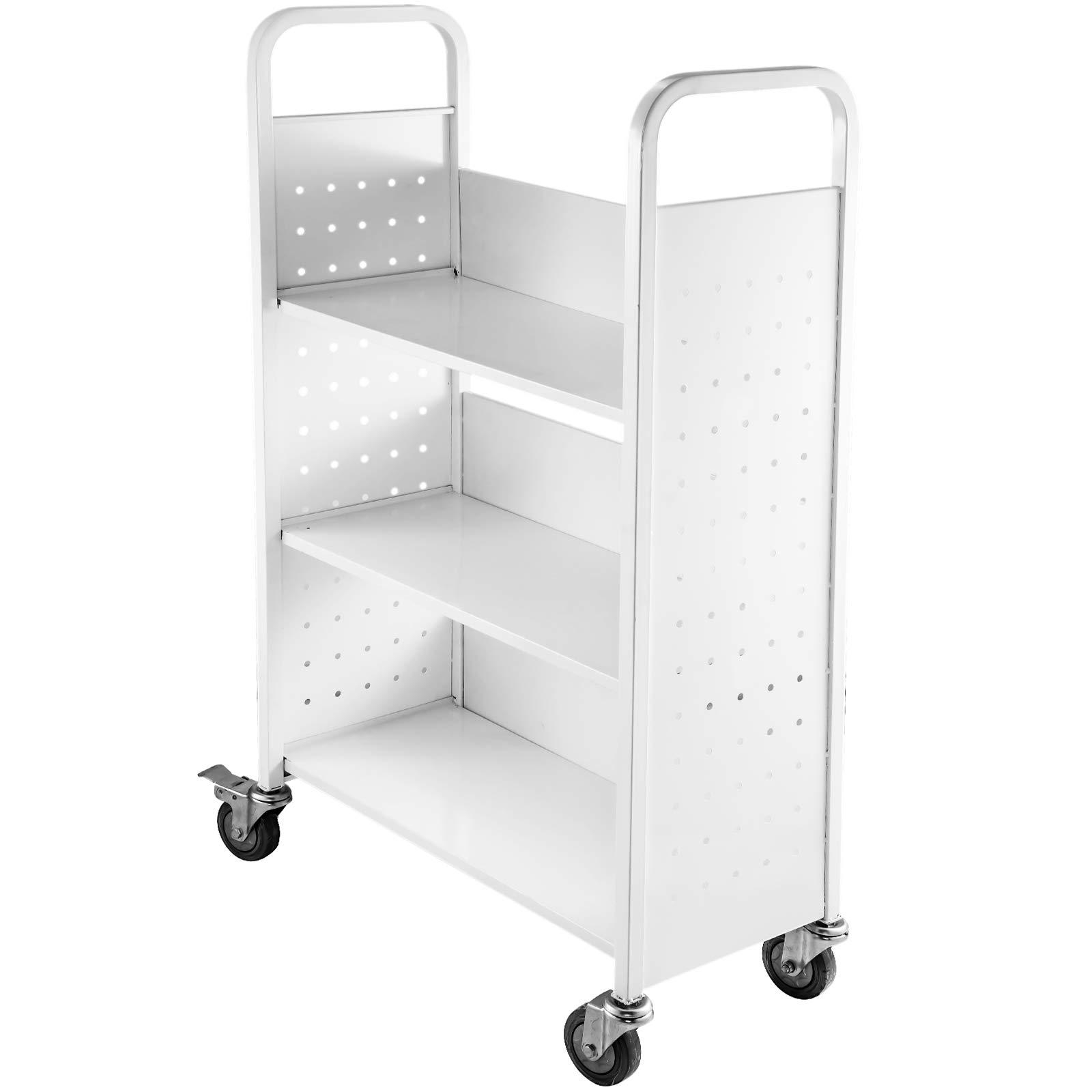 BestEquip Book Cart 200lbs Library Cart 30x14x45 Inch Rolling Book Cart with L-Shaped Flat Shelves and 4 Inch Lockable Wheels Welded Steel for Home Shelves Office and School Book Truck in White by BestEquip
