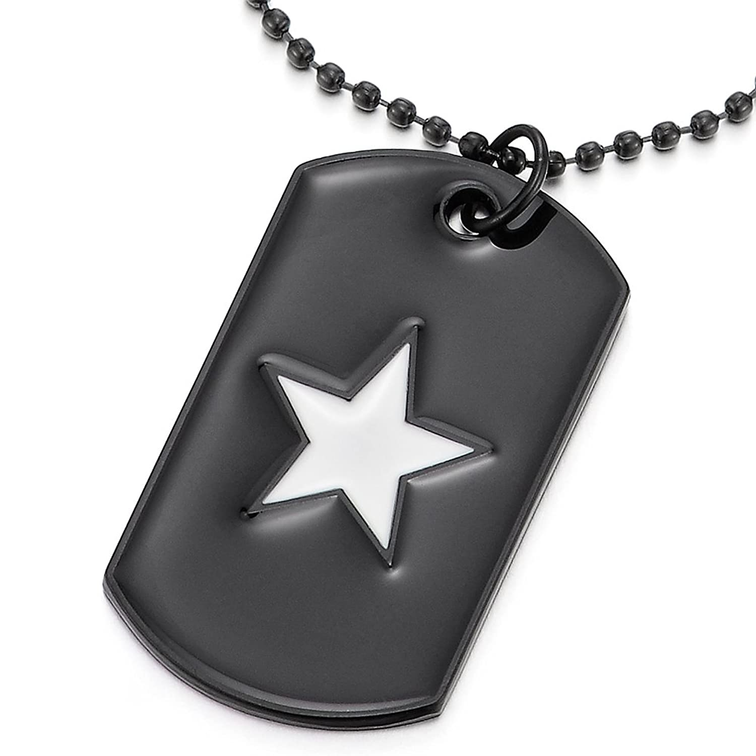 Mens Women Black Dog Tag Pendant Necklace with White Enamel Star and 28 inches Ball Chain