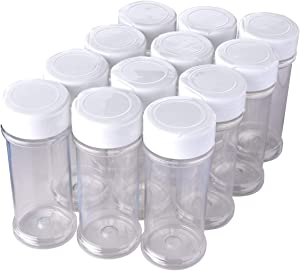 12 Pack of 6 Oz. Empty Clear Plastic Spice Bottles with White Sprinkle Top Lids For Storing and Dispensing Salt, Sweeteners and Spices - Food-Grade Spice Jars for Kitchen and Home Spice Organization