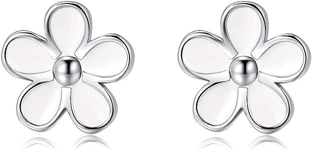 SLUYNZ Sterling Silver Daisy Earrings Studs for Women Teen Girls Lovely Flowers Earrings 9mm