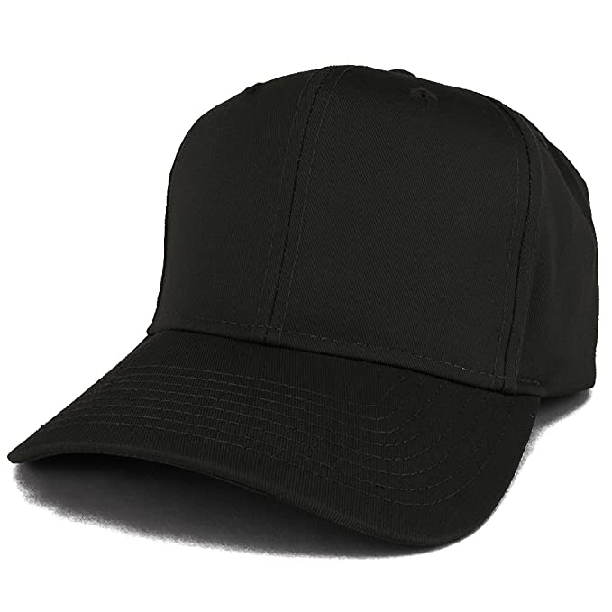 Armycrew XXL Oversize High Crown Adjustable Plain Solid Baseball Cap - Black 0e6c8429743