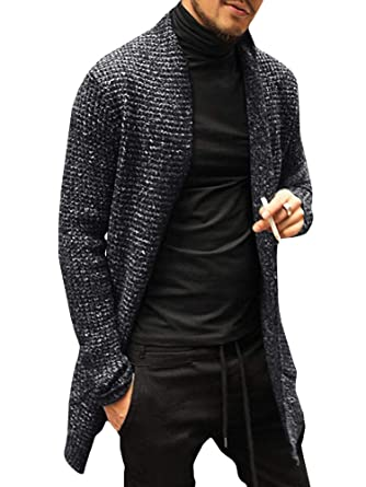 33ffe472134d Pengfei Mens Cardigan Sweaters Open Front Cable Knit Long Sleeve Shawl  Collar Coat Cardigans at Amazon Men s Clothing store