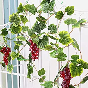 YILIYAJIA 2PCS Artificial Grapes and Vines,Fake Garlands with Greenery Ivy Leaves,Hanging Plants and Fruits for Home Garden Courtyard Decoration 87