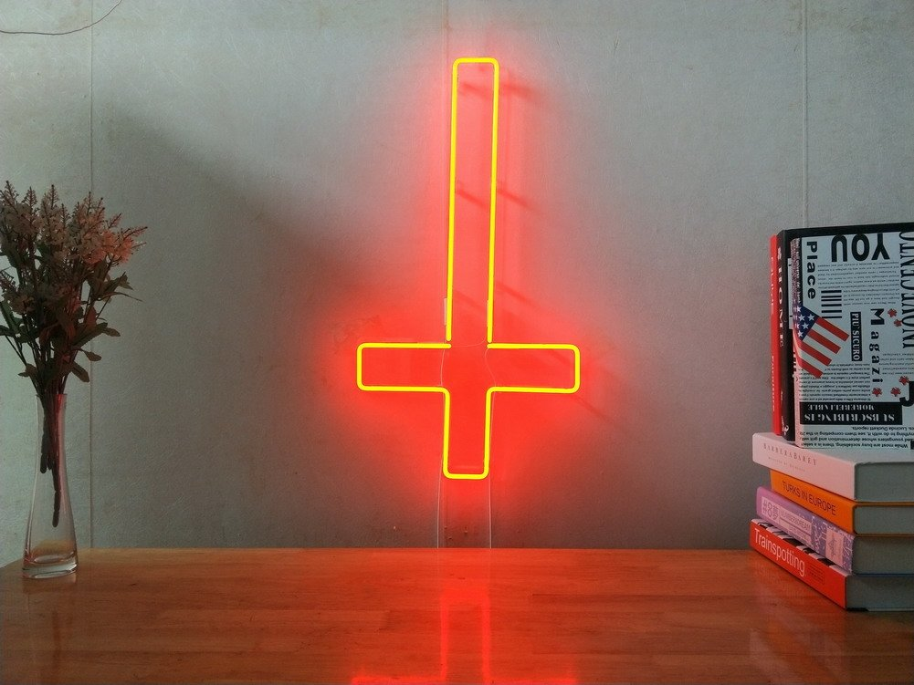 Upside Down Cross Real Glass Neon Sign For Bedroom Garage Bar Man Cave Room Home Decor Handmade Artwork Visual Art Dimmable Wall Lighting Includes Dimmer