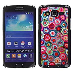 Qstar Arte & diseño plástico duro Fundas Cover Cubre Hard Case Cover para Samsung Galaxy Grand 2 II / SM-G7102 / SM-G7105 ( Knitting Handycraft Art Fabric Colorful Pattern)