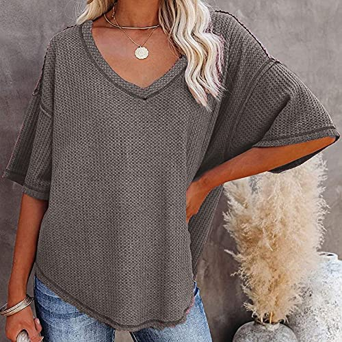 Women's V Neck Waffle Knit Short Sleeve Tunic Tops Casual Loose Blouses Shirts
