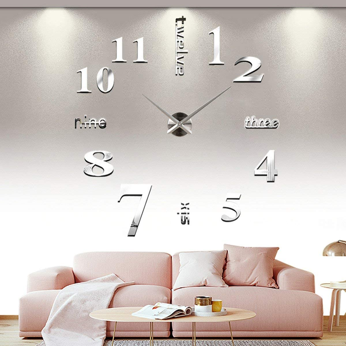 YESURPRISE 3D Frameless Large Wall Clock Modern Mute Mirror Surface DIY Room Home Office Decorations – Silver