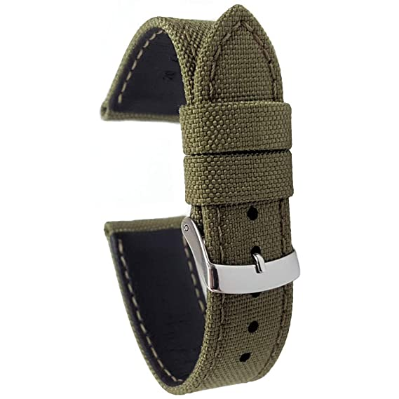 a2d34972b7c Cordura Fabric Watch Strap with Leather Lining Olive Green 20mm   Amazon.co.uk  Watches