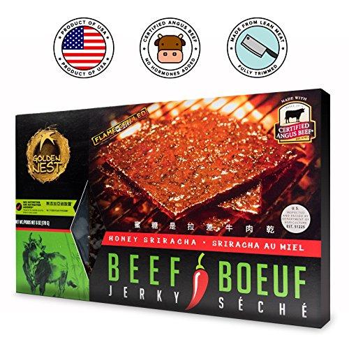Price comparison product image Golden Nest Beef Jerky,  Gluten Free,  Low Sodium Homemade Style BBQ Meat From Gourmet USA Beef,  Award Winning Premium Jerky,  6 Ounces (Honey Sriracha)