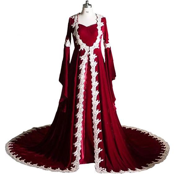 Lowime Women\'s Burgundy Muslim Formal Evening Dresses Long Sleeve ...