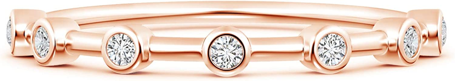 April Birthstone-Bezel Set Lab Grown Diamond Half Eternity Womens Wedding Band in 14k Solid Gold (0.1 ctw, H Color, SI2 Clarity)