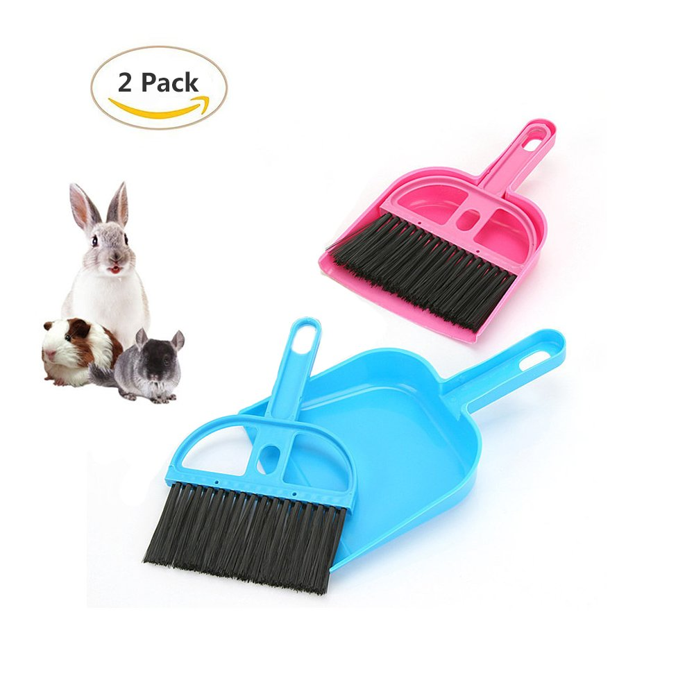 2 Pack of Pet Broom Brush and Dustpan, Floor Cleaning Kit, Pet Waste Shovels Cleaning Tools for Rabbit, Guinea Pig, Reptile, Hedgehog, Hamsters and Other Small Animals HL