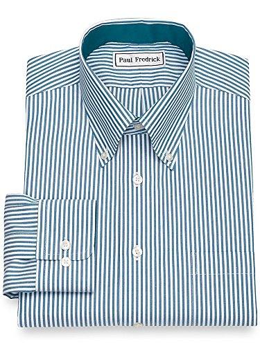 Paul Fredrick Men's Non-Iron Cotton Bengal Stripe Button Cuff Dress Shirt Teal 20.0/37