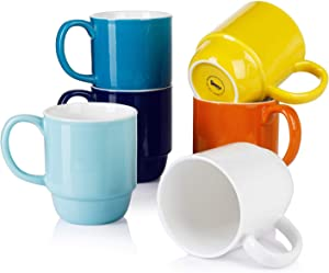 Sweese 609.002 Stackable Mug Set - 21oz Large Coffee Mugs for Coffee, Tea, Hot Chocolate, Set of 6, Hot Assorted Colors