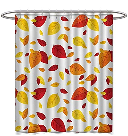 Leaf Shower Curtains Digital Printing Colorful Fall Autumn Leaves On White Background Seasonal Design Modern Artwork