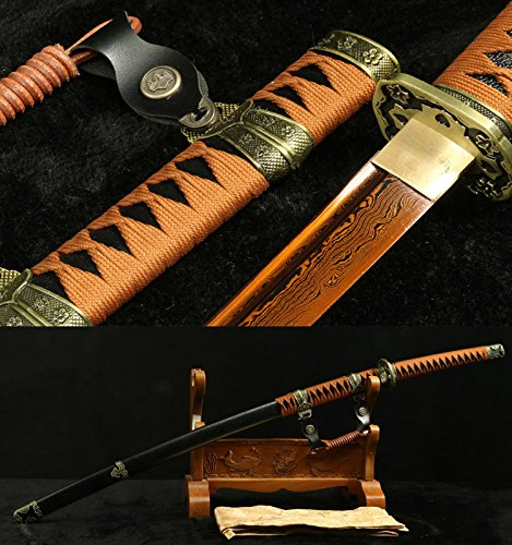 Jiang Tong Damascus Folded RED Steel Handmade Japanese Katana Sword