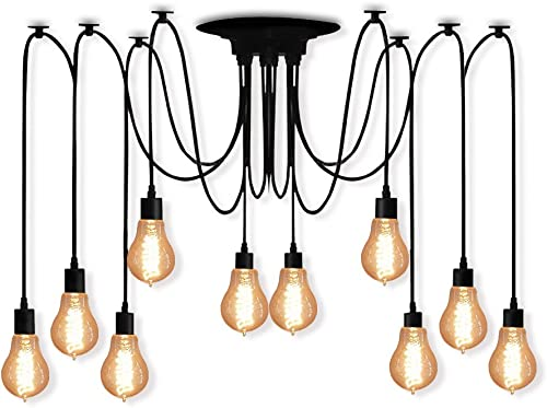Veesee 10 Arms Industrial Ceiling Spider Lamp,Retro E26 Edison Bulb Hanging Chandelier Lights,DIY Adjustable Modern Chic Pendant Lighting for Bedroom Dinning Living Room Kitchen Coffee Shop 2m Wire