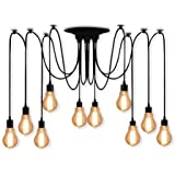 Veesee 10 Arms Industrial Ceiling Spider Lamp,Retro E26 Edison Bulb Hanging Chandelier Lights,DIY Adjustable Modern Chic Pend