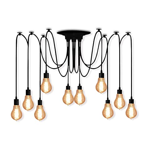 Veesee 10 Arms Industrial Ceiling Spider Lamp, Retro E26 Edison Bulb ...