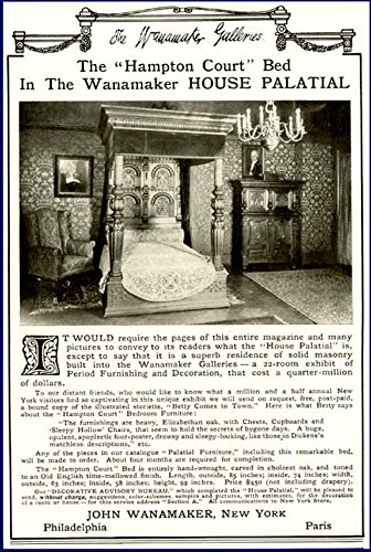 - 1909 AD for Hampton Court Bed at John WANAKER'S Store Original Paper Ephemera Authentic Vintage Print Magazine Ad/Article