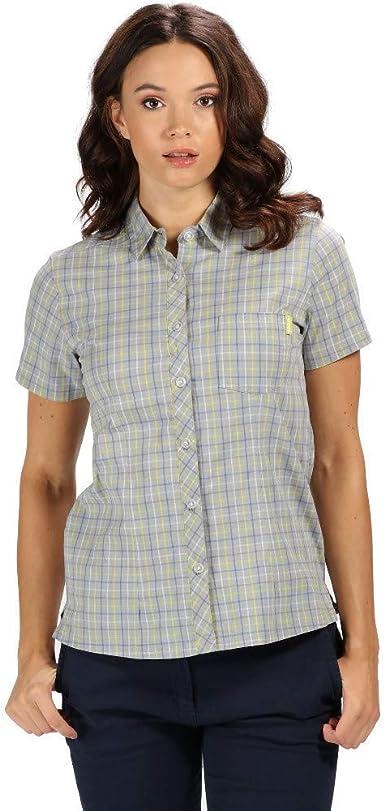 Regatta Womens Honshu Iii Cotton Stretch Short Sleeve Check Short Sleeves Shirt